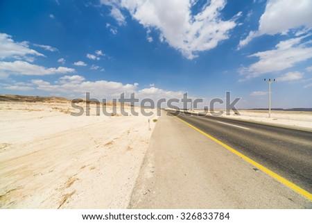 Asphalt Road in the Judean Desert  - stock photo