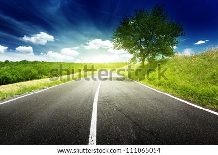 asphalt road in Tuscany, Italy - stock photo
