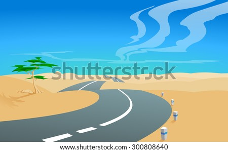 Asphalt road into desert.Illustration of a road, aiming for a horizon in deserted  landscape, with a blue sky and clouds in the background.Empty space leaves room for design elements or text.Poster. - stock photo