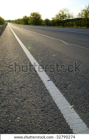 Asphalt road on a decline