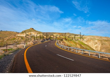 Asphalt Road on the Golan Heights, Israel
