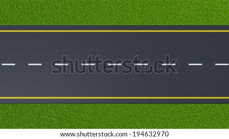 asphalt road on the green lawn (top view) - stock photo