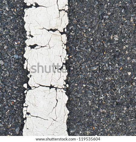 asphalt road texture with white stripe - stock photo