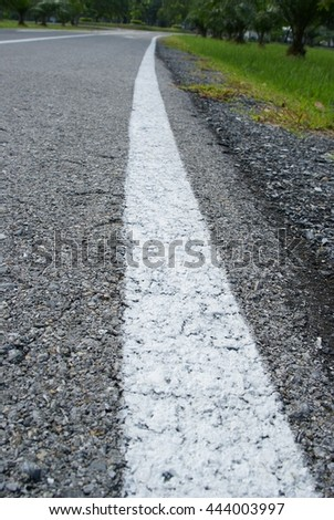 Asphalt Road Texture with White Strips