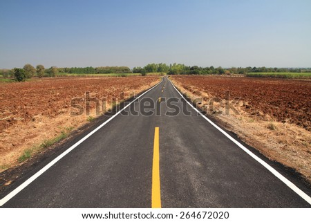 Asphalt road through on blue sky in summer day - stock photo