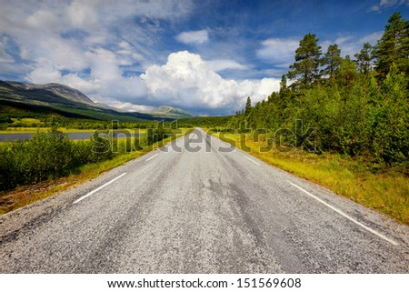 asphalt road through the green field and clouds on blue sky in summer day, Norway - stock photo