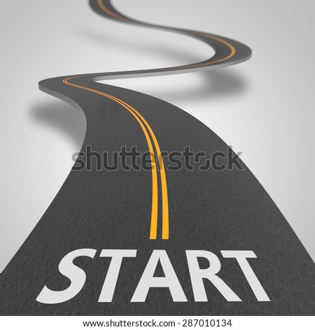 Asphalt road to starting position as concept - stock photo