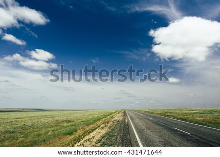 asphalt road with a marking leaving afar on a summer day