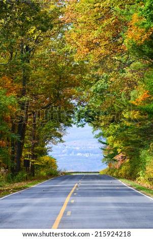 Asphalt road with autumn foliage - Shenandoah National Park, Virginia United States  - stock photo