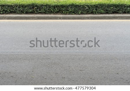 Asphalt road with concrete curb and green plants