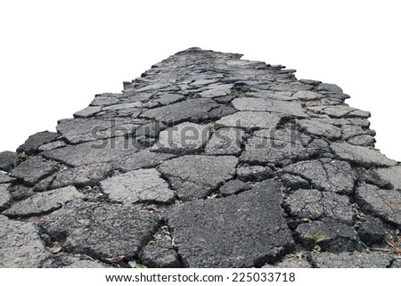 asphalt road with cracks, isolated on white background. - stock photo