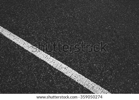 asphalt road with white line - stock photo