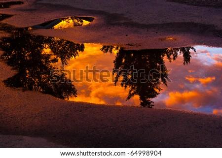 Asphalt Sunset - stock photo
