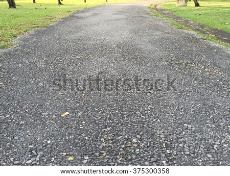 Asphalt surface of road in the garden for jocking - stock photo