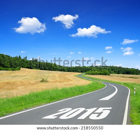 Asphalted road in sunny landscape .Forward to the New Year 2015 - stock photo