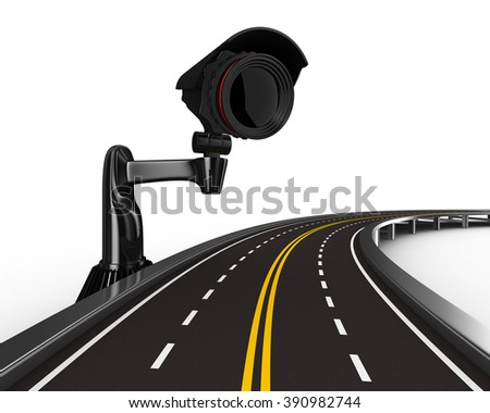 asphalted road with camera on white. Isolated 3D image