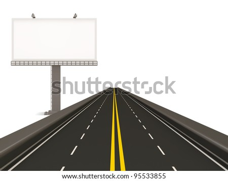 Asphalted Road with Empty Billboard isolated on white background - stock photo