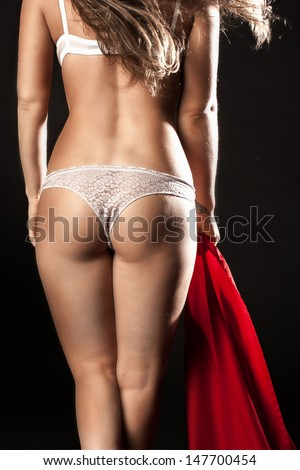 Ass of young woman. Sexy woman soft booty, panties - stock photo