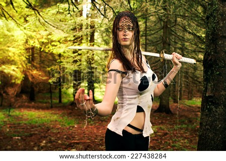 Assassin woman - stock photo