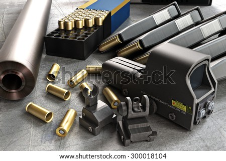 Assault rifle accessories collection consisting of bullet rounds, gun barrel , magazines , front and rear sites , and a laser guided rifle scope.    - stock photo