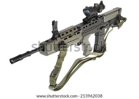 assault rifle L85 isolated on a white background - stock photo