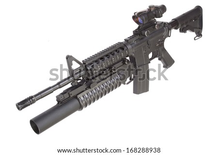 assault rifle with an M203 grenade launcher - stock photo