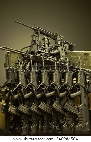 assault rifles - stock photo