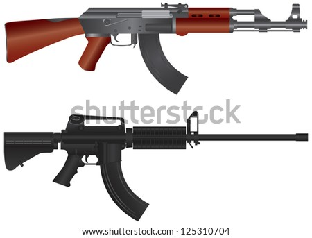 Assault Rifles AR 15  and AK 47 Semi Automatic Weapons Illustration Isolated on White Background Rater Vector - stock photo