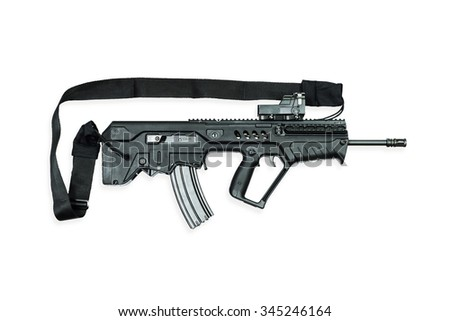 assault rifles on the white background - stock photo