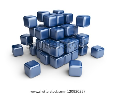 Assemble or destruction cubes. 3D Illustration isolated on white