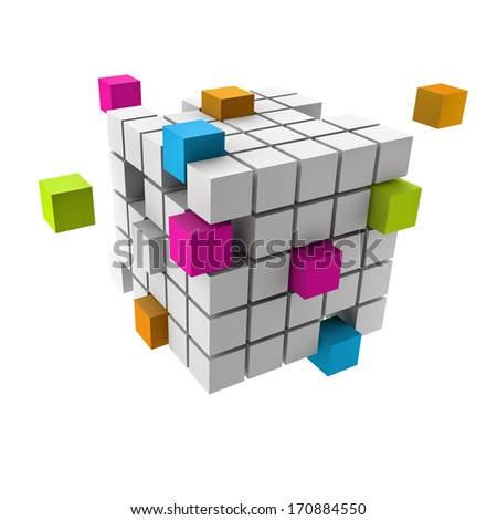 assembling of a cubic structure with colorful pieces - stock photo