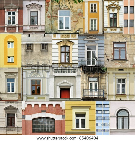 Assembling of different windows in different architectral styles - stock photo