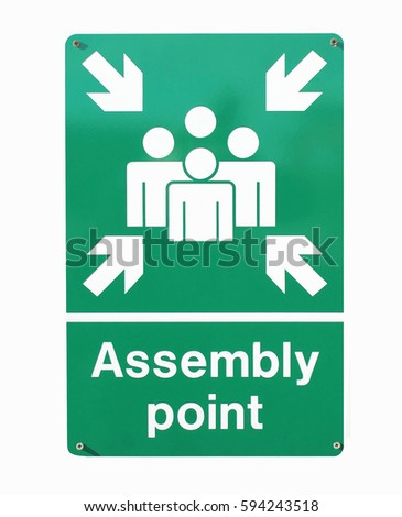 Assembly Point Meeting Sign Stock Vector 406415137 - Shutterstock