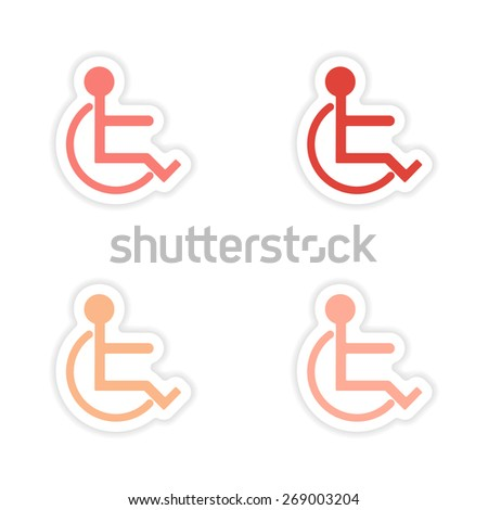 assembly realistic sticker design on paper disabled  - stock photo