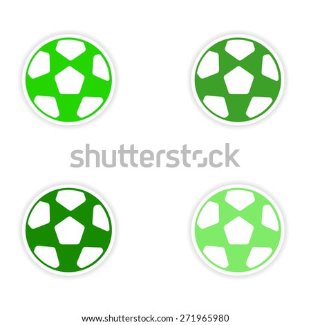 assembly realistic sticker design on paper football  - stock photo