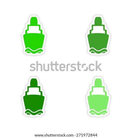 assembly realistic sticker design on paper lighthouses  - stock photo