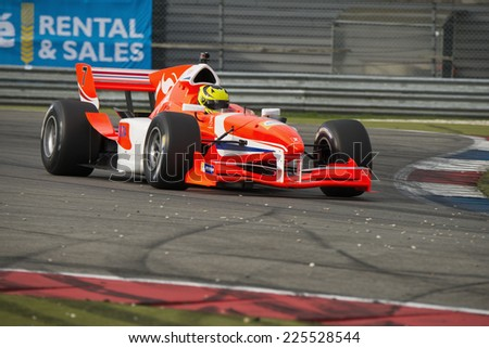 ASSEN, NETHERLANDS - OCTOBER 19, 2014: Nigel Melker (Team Netherlands) wins the Acceleration Grand Prix Formula A1 championships  - stock photo
