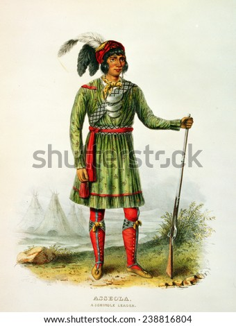 Asseola, Seminole leader of Florida. lithograph by George Catlin ca. 1838 - stock photo