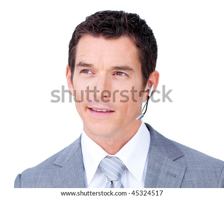 Assertive customer service agent using headset against a white background - stock photo