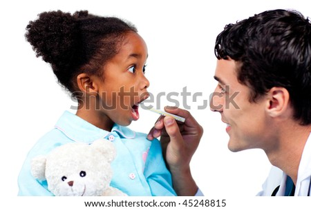 Assertive doctor taking his patient's temperature isolated on a white background - stock photo