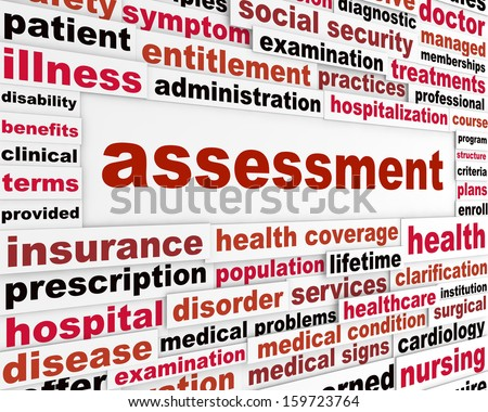 Assessment medical words concept. Health care issue creative background - stock photo