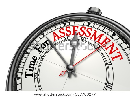 Assessment time red word on concept clock, isolated on white background