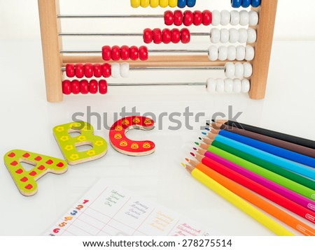Assessories for the new school year - stock photo
