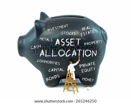 Asset allocation theme piggy bank on a white background - stock photo