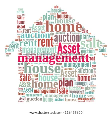 Asset Management in word collage composed in house shape - stock photo