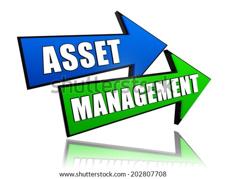 asset management - text in 3d arrows, business financial operation concept - stock photo