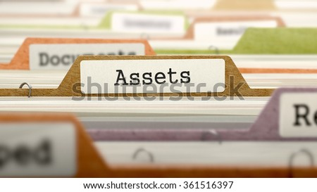 Assets - Folder Register Name in Directory. Colored, Blurred Image. Closeup View.