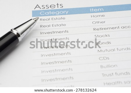 Assets Word with category