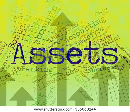 Assets Words Showing Wealth Capital And Goods - stock photo