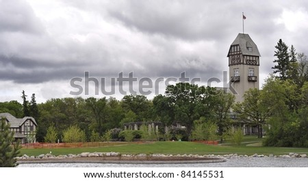 Assiniboine Park pavilion and lake in Winnipeg Canada - stock photo